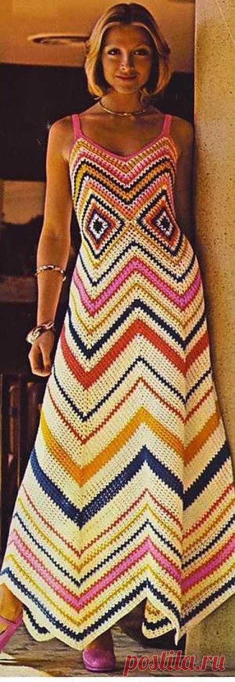 Платье миди в стиле Миссони (зиззаги).