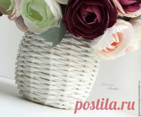 Плетём корзинку-вазу из бумажной лозы | Журнал Ярмарки Мастеров