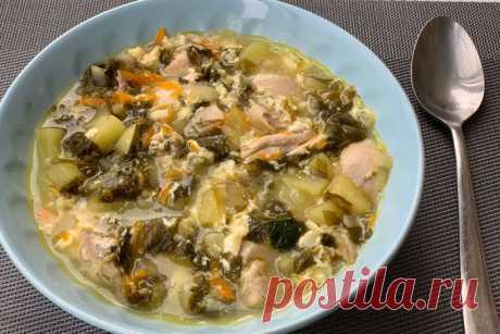Щавелевый суп с яйцом и с курицей