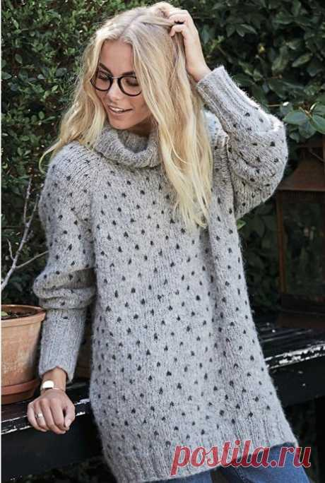Удобный серый свитерок из категории Интересные идеи – Вязаные идеи, идеи для вязания
