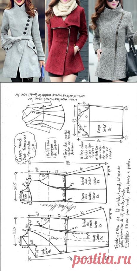 Ателье дизайнерской одежды: шитье, крой, вязание.Пальто с косой застежкой #выкройки в PDF Размеры с 36 по 56