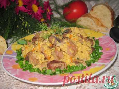 Пшено с грибами и куриными желудками Кулинарный рецепт