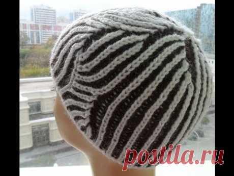 """Женская шапка"""" Бриошь"""" для начинающих ( knitting cap brioche) (Шапка #16)"""