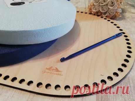 Вязание люльки для младенца крючком из трикотажной пряжи с деревянной основой /донышко/. 1 Этап