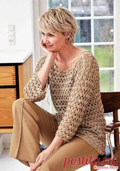 Ажурный удлиненный пуловер с глубоким декольте на спинке. Крючок. BURDА SPECIAL. CREAZION - №3 2020