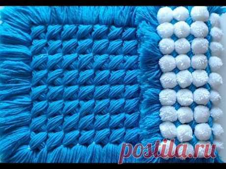 Pom pom blanket - CrissCross, pom pom turnover less than £8 to make could easily sell for £35