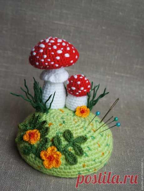 Вяжем крючком игольницу «По грибы». Часть 2 - Ярмарка Мастеров - ручная работа, handmade