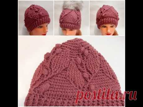 Шапка крючком с узором из рельефных столбиков/crochet cap