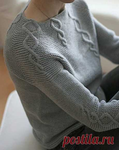 Пуловер реглан спицами схема описание. Пуловер вязанный сверху схема описание |