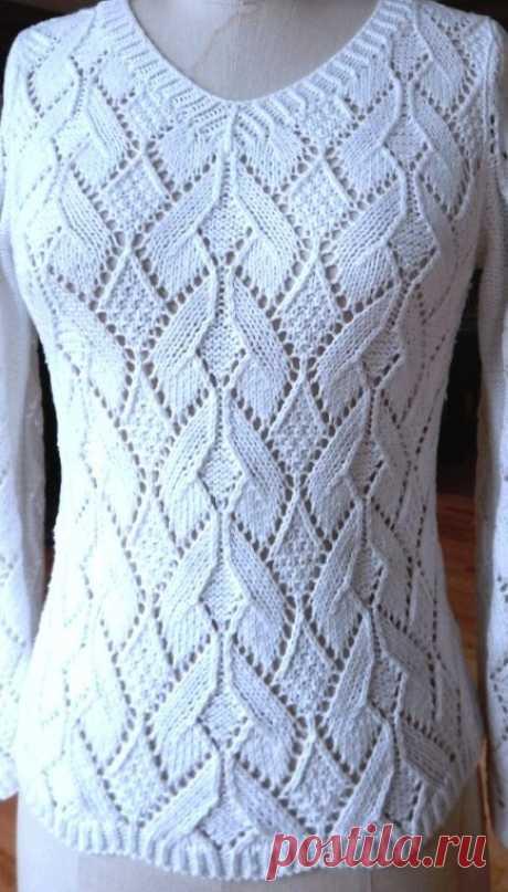 Белый джемпер ажурным узором. Лучшие модели одежды спицами со схемами | Я Хозяйка