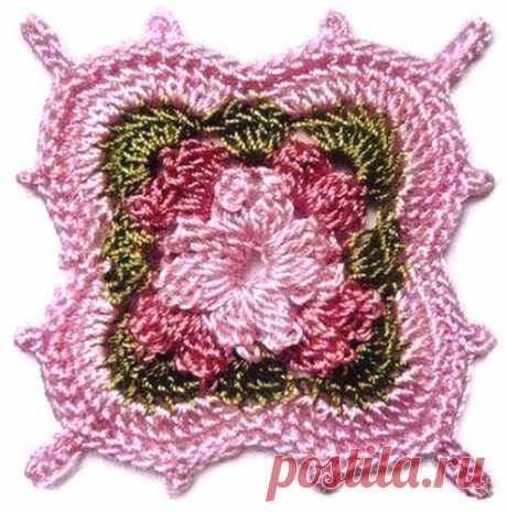 Маленький цветочный мотив крючком - схема