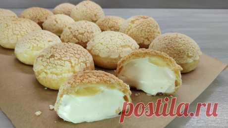 Заварные пирожные с хрустящей корочкой и кремом Пломбир | Пирожные Шу | LoveCookingRu | Яндекс Дзен