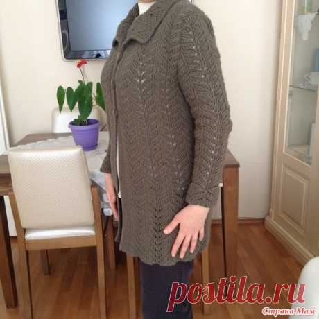Openwork kardiganchik with a turn-down collar - Knitting - the Country of Mothers