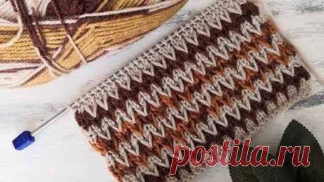 """Узор спицами """"двухцветные зигзаги"""" для вязания свитера, кардигана, шапки"""