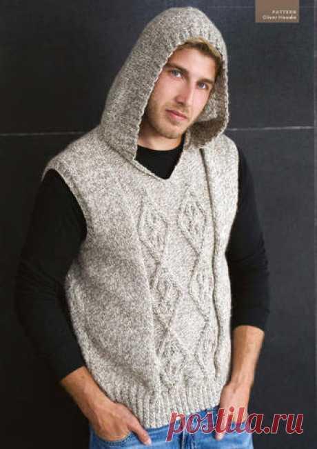 Мужской жилет с капюшоном вязаный спицами. Male hooded vest knitting | Вязание для всей семьи