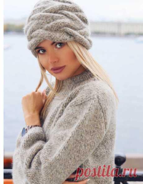 В тренде весны-2021. Вязаная спицами женская шапочка «поперёк» 😊 Разбор модели   Что я натворила?!   Яндекс Дзен