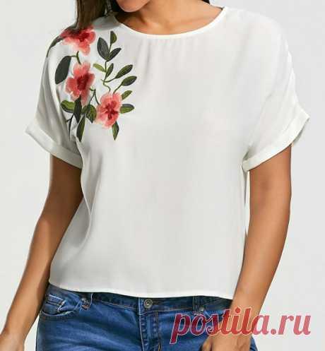 Блузка с короткими цельнокроеными рукавами, выкройка от Marlene Mukai на размеры с 38 по 52 (евр.). #простыевыкройки #простыевещи #шитье #блузка #блуза #выкройка