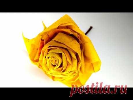 Роза из листьев Клена 🍁 Как сделать цветок из кленовых листьев