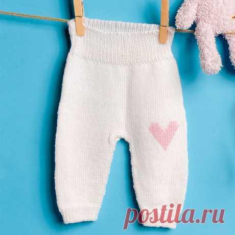 Детские штанишки с вышивкой «Сердечко» - схема вязания спицами. Вяжем Брюки на Verena.ru