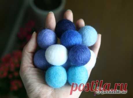 Мокрое валяние шариков из шерсти