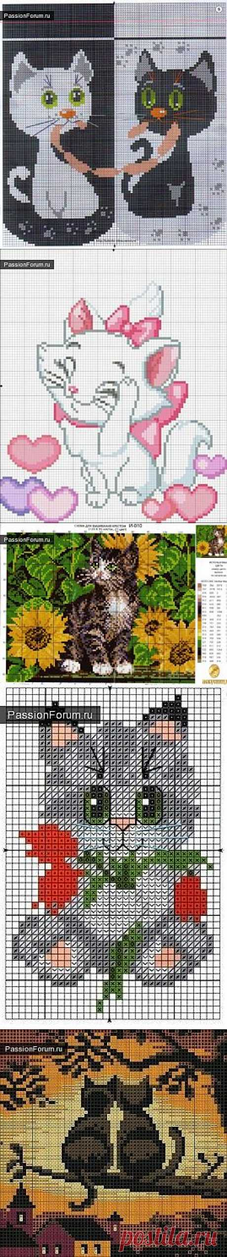 Коты и кошки. ЧАСТЬ 7 / Схемы вышивки крестиком / PassionForum - мастер-классы по рукоделию
