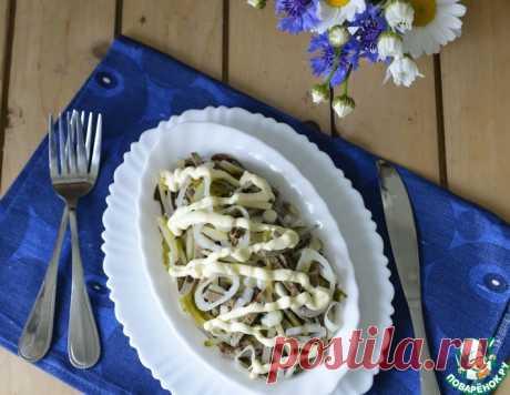 """Салат с печеночными блинчиками """"Кучерявый"""" – кулинарный рецепт(***)"""