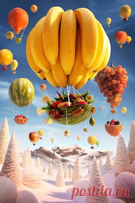 Carl Warner. Banana-Balloon