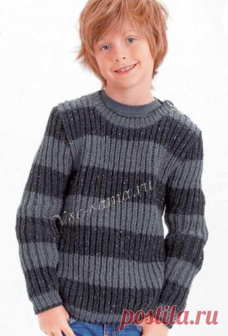 Пуловер для мальчика с патентным узором