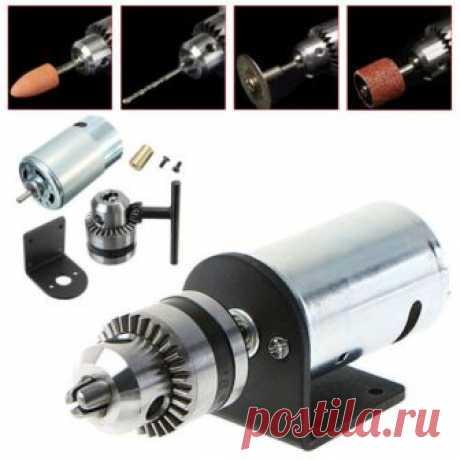 "Mini Hand Drill DIY Lathe Press 555 Motor w/ 1/8"" Chuck+ Mounting Bracket 12-36V 665226959596 | eBay"