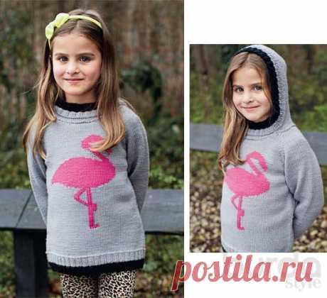 Детский пуловер с розовым фламинго - схема вязания спицами. Вяжем Пуловеры на Verena.ru