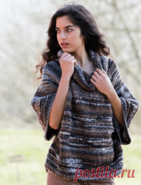 Свитер Порту Супер простой в вязании свитер по типу пончо, связанный на спицах 5 мм из смесовой меланжевой разноцветной пряжи. Такая модель...