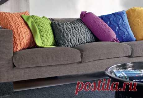 Вязаные подушки для домашнего уюта - коллекция идей на Verena.ru
