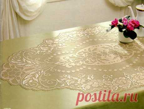 Овальная салфетка с розами Схема вязания овальной салфетки с розами