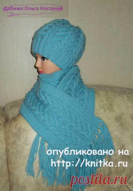 Шапочка и шарф спицами. Работы Ольги, Вязание для детей