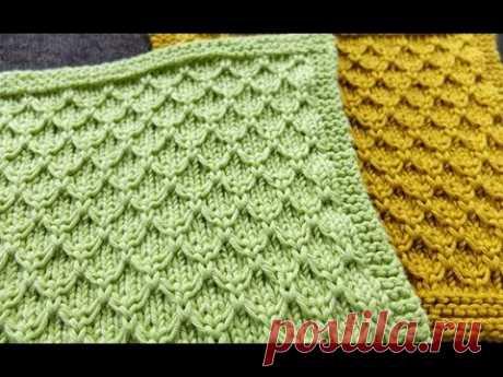 Рельефный объемный узор спицами для вязания свитера, джемпера, кардигана, пледа