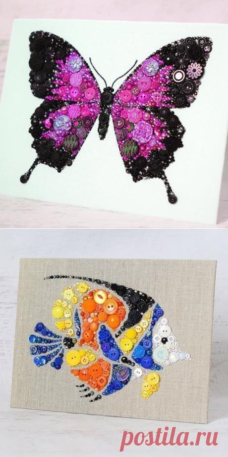 Прекрасные картины из пуговиц — Сделай сам, идеи для творчества - DIY Ideas