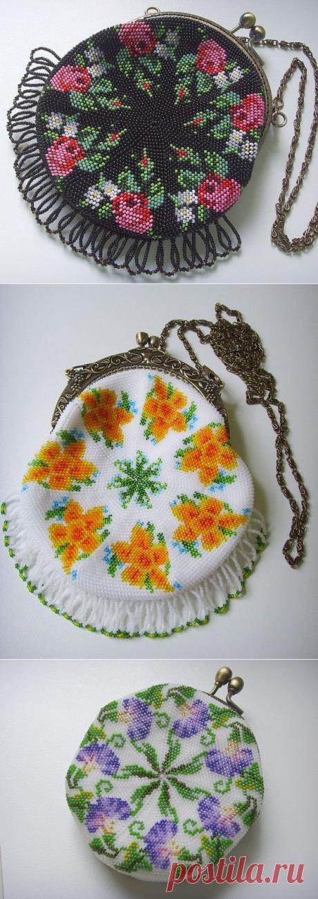 Бисерные сумочки от Luchs. Схемы плетения.