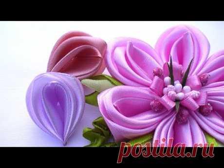 Лепестки Канзаши из Ленты 2 5 см /  Kanzashi Flower Petals Tutorial, Kanzashi Tatiana Vasyliuk