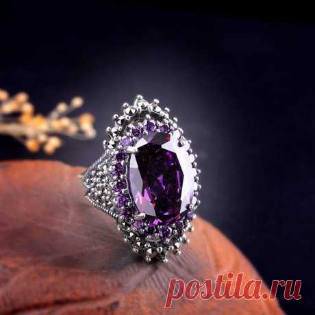 Natural amethyst ring sterling silver open ring boho ring | Etsy