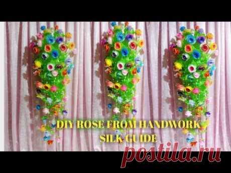 LÀM HOA HỒNG TREO TƯỜNG BẰNG GIẤY LỤA HƯỚNG DẪN THỦ CÔNGDIY ROSE FROM HANDWORK SILK GUIDE - YouTube