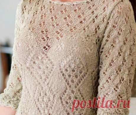 Платье с фантазийным узором спицами