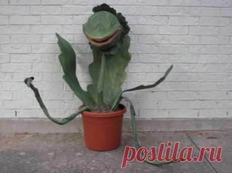 Делаем искусственное плотоядное растение из папье-маше — Своими руками