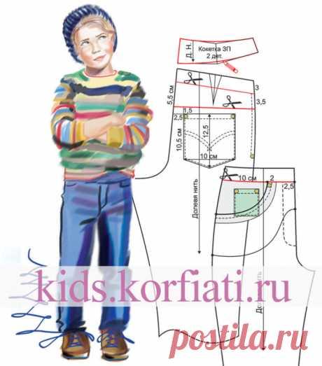 Выкройка детских джинсовых брюк - Выкройки детской одежды