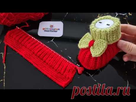 Вязание детских пинеток на 2 спицах / Вязание детской обуви
