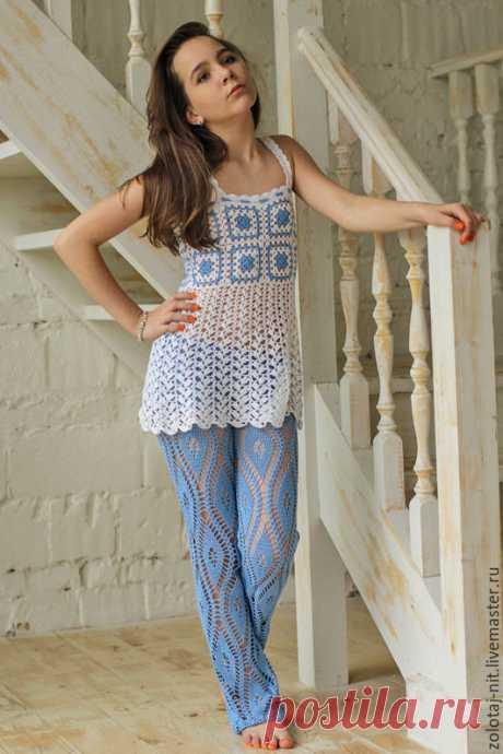 Купить Костюм Водопад - белый, голубой, Костюм вязаный, ажурный, брюки женские, брюки ажурный