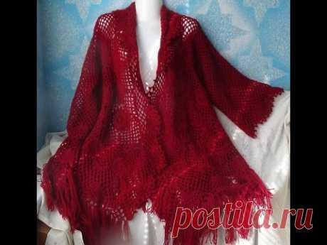 We knit a hook. Shawl jacket. Part 1 - motive - YouTube