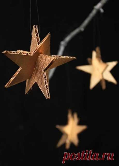 Звёзды на ёлку из картона.