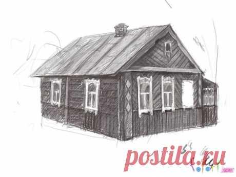 Рисуем деревенский домик — Сделай сам, идеи для творчества - DIY Ideas