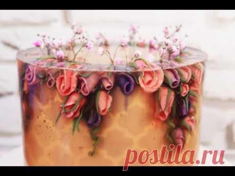 Необычный ТОРТ-ЖЕЛЕ! Декор торта трафаретом
