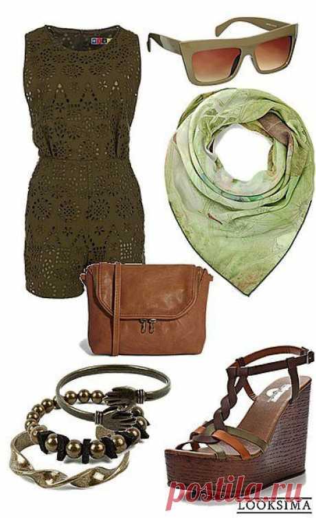 Оригинальный комбинезон цвета хаки из перфорированной ткани украсит Ваш летний гардероб и обеспечит комфорт в самую жаркую погоду.